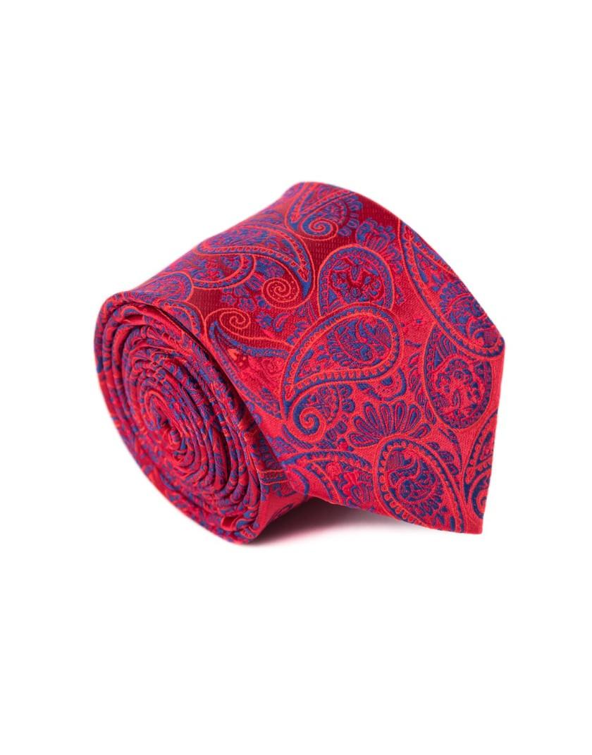 Krawat czerwony we wzór paisley