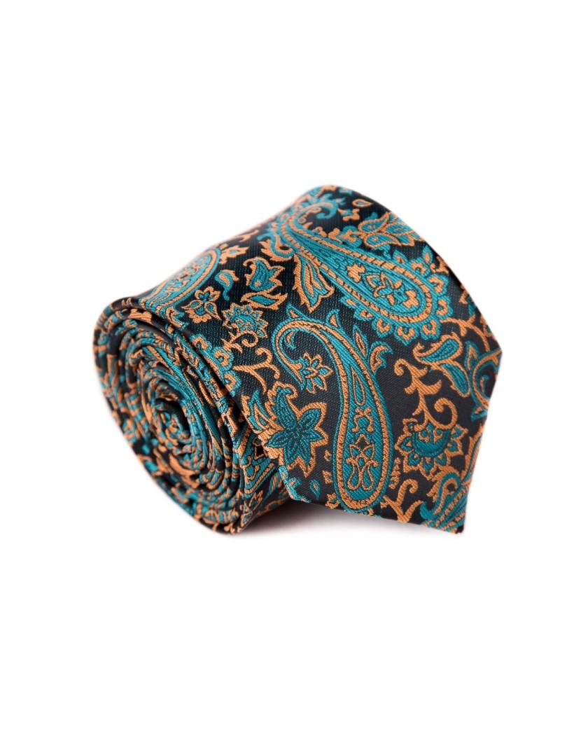 Krawat czarno brązowy we wzór paisley