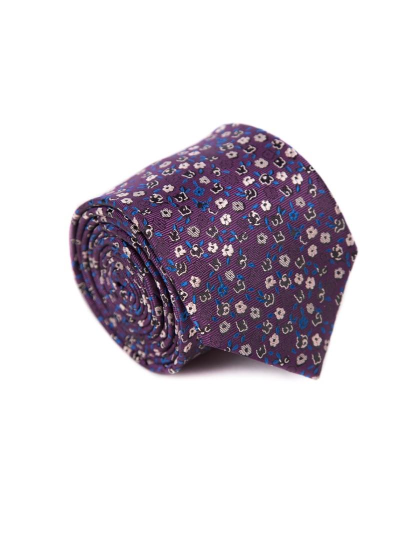 Krawat ciemno fioletowy w kwiaty
