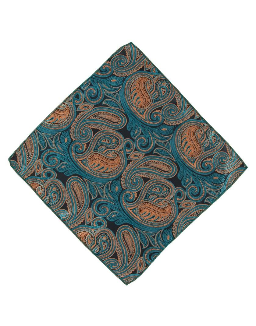 Poszetka w brązowo zielony wzór paisley