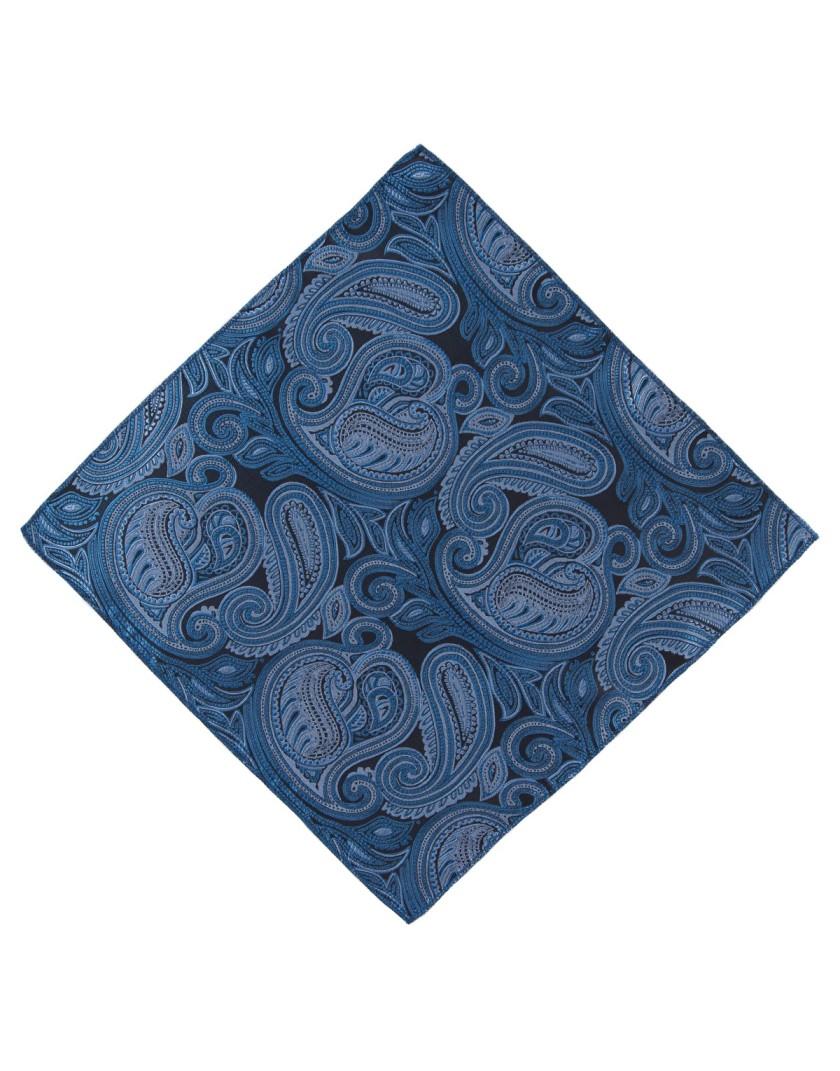 Poszetka w niebieski wzór paisley