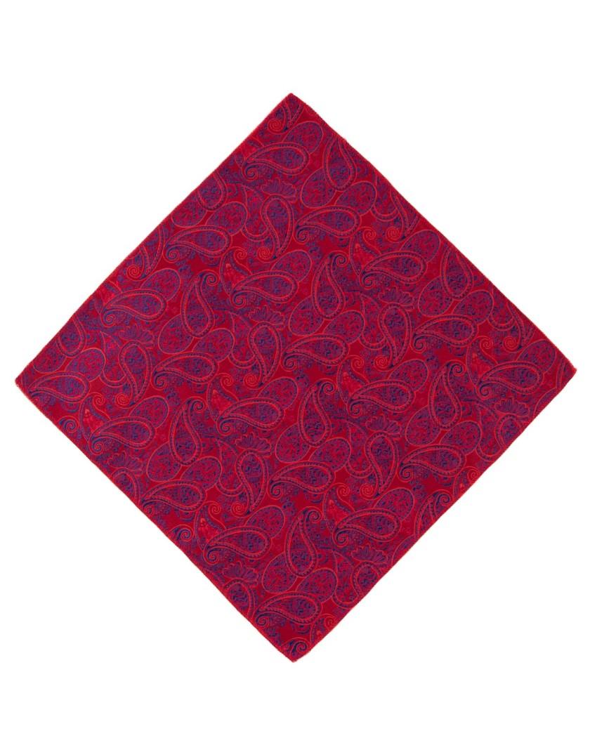 Poszetka w czerowono niebieski wzór paisley