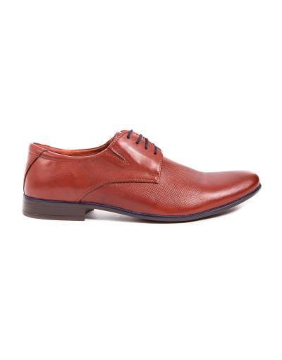Brązowe buty męskie ze skóry OP0284