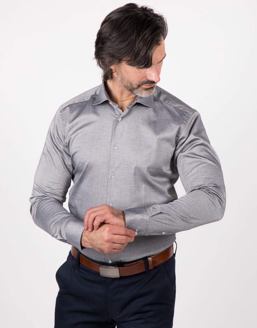 Szara koszula z białymi kropkami KE2049