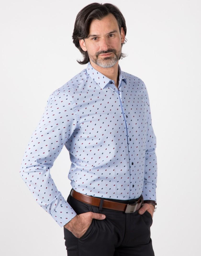 Niebieska koszula z nadrukiem KT4012