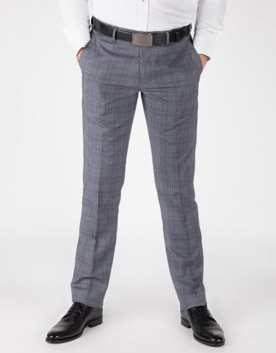Szary garnitur w kratę SM8018 - spodnie