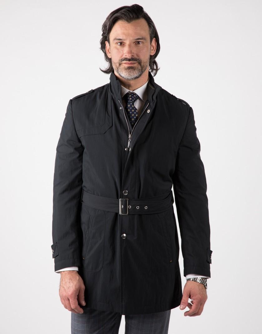 Czarny płaszcz męski z paskiem Piotr WL0026