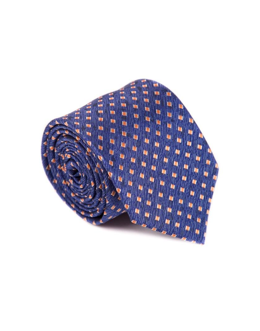 Niebieski krawat z pomarańczowym wzorem