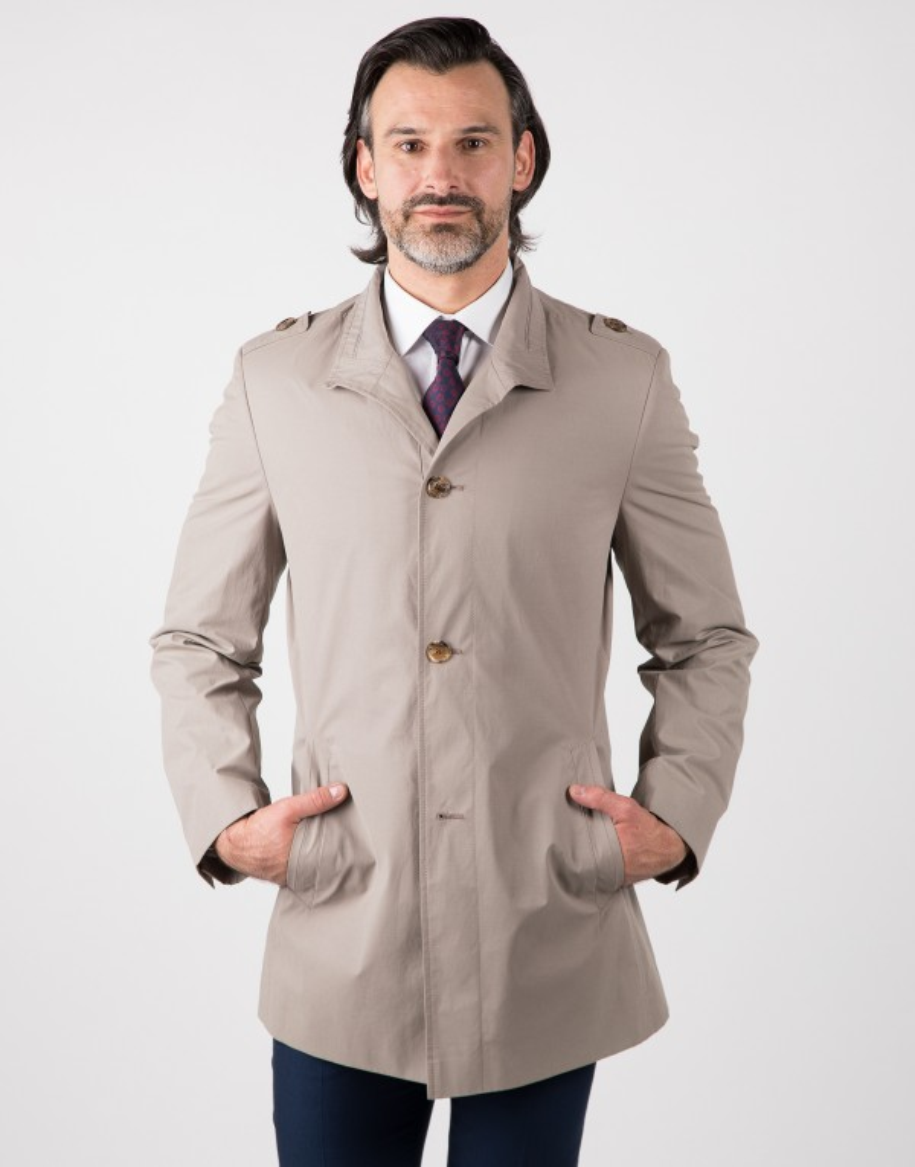 Beżowy płaszcz męski Remigiusz II WL0076