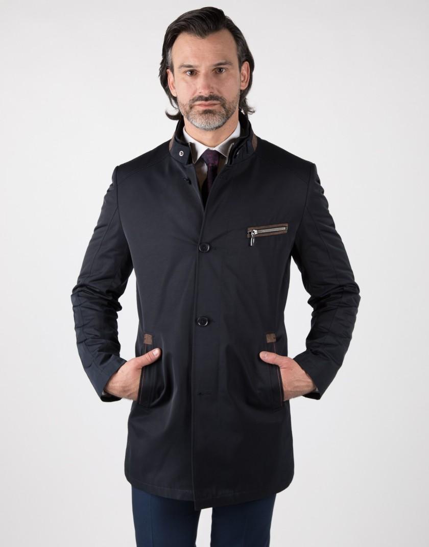 Granatowy płaszcz z kontrastem Miłosz WM0085