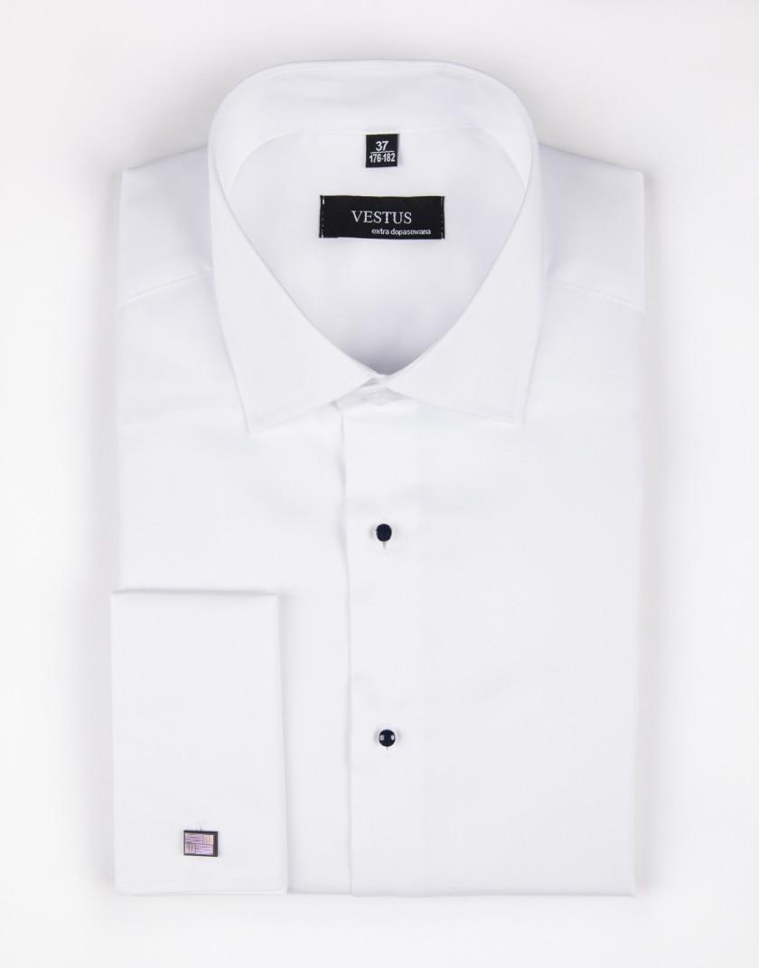 Biała koszula na spinki z guzikami jubilerskimi KR1044