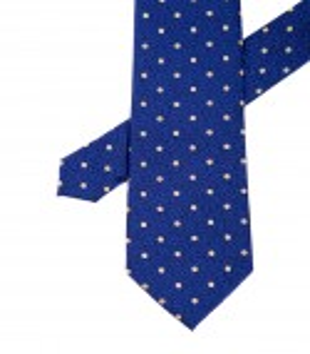 Krawat męski niebieski w żółte kropki