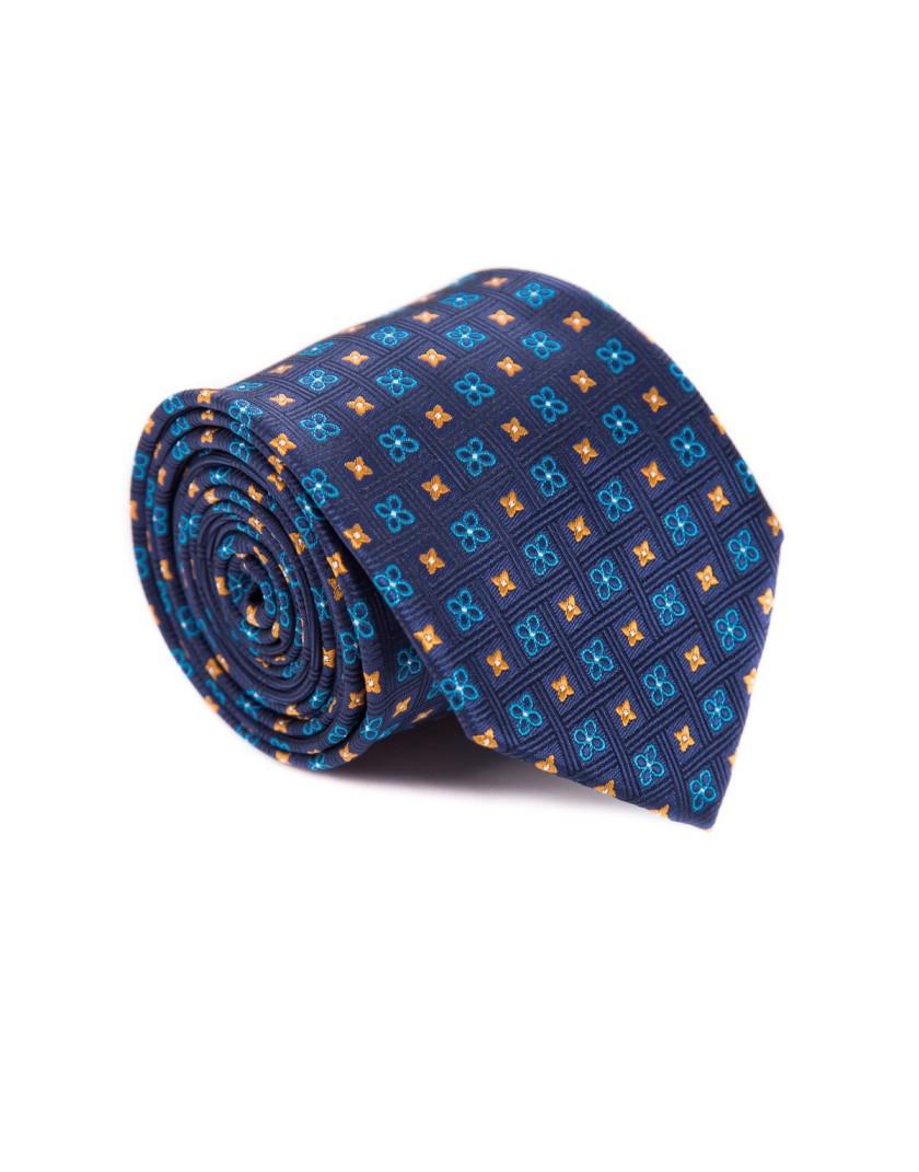 Granatowy krawat w drobne kwiaty