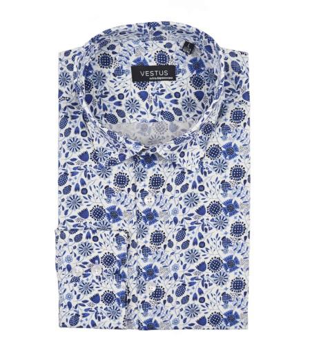 Biała koszula w niebieskie kwiaty KT4062