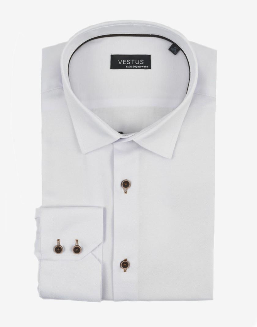 Biała koszula męska w mikrowzór KT4060
