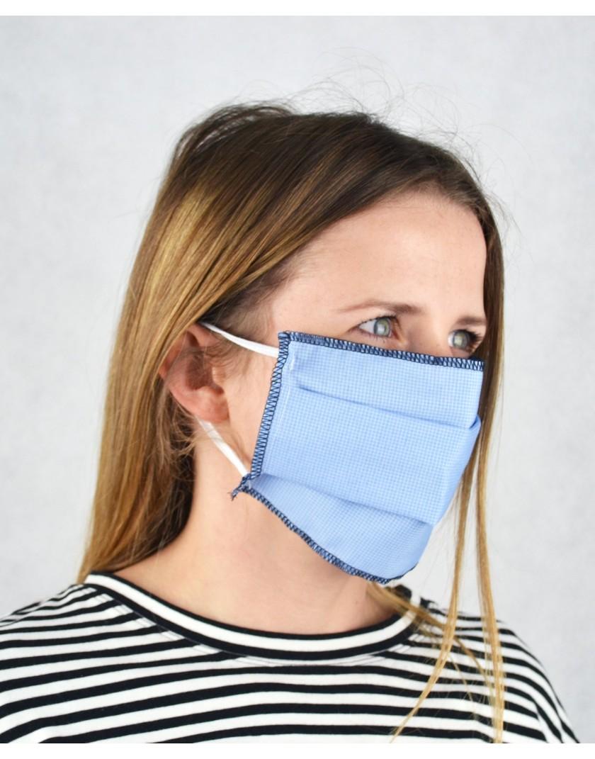 Niebieska maska w kratkę jednowarstwowa