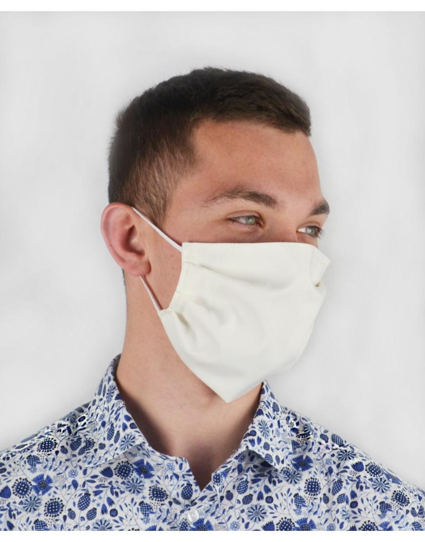 Maska biała bawełniana z kieszonką na filtr