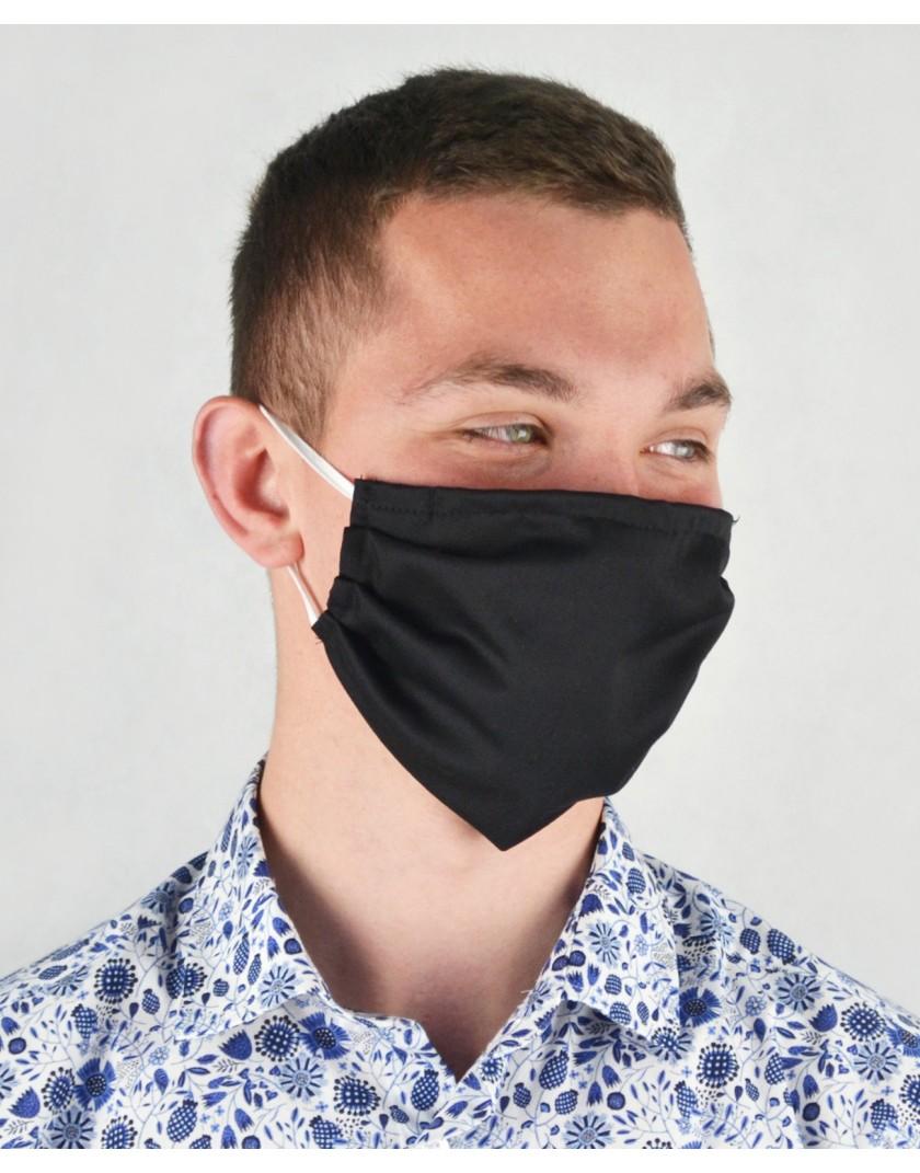Czarna maska bawełniana z kieszonką
