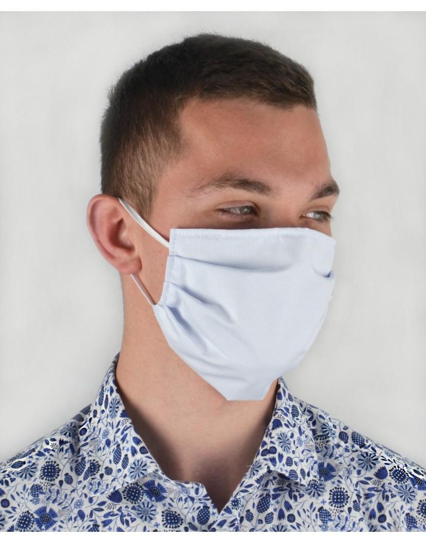 Maska bawełniana z kieszonką na wkład - błękitna w prążek