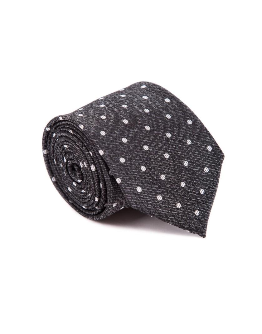 Grafitowy krawat w kropki