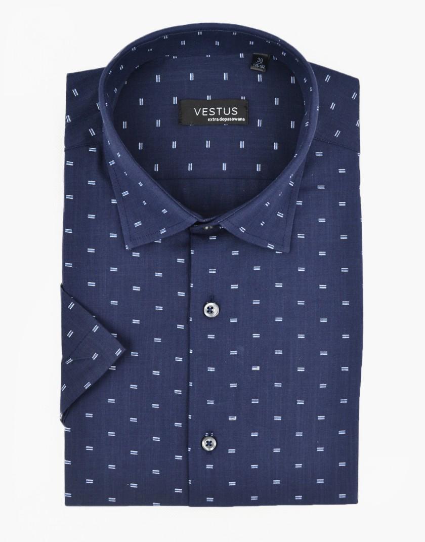 Granatowa koszula z krótkim rękawem KT4069