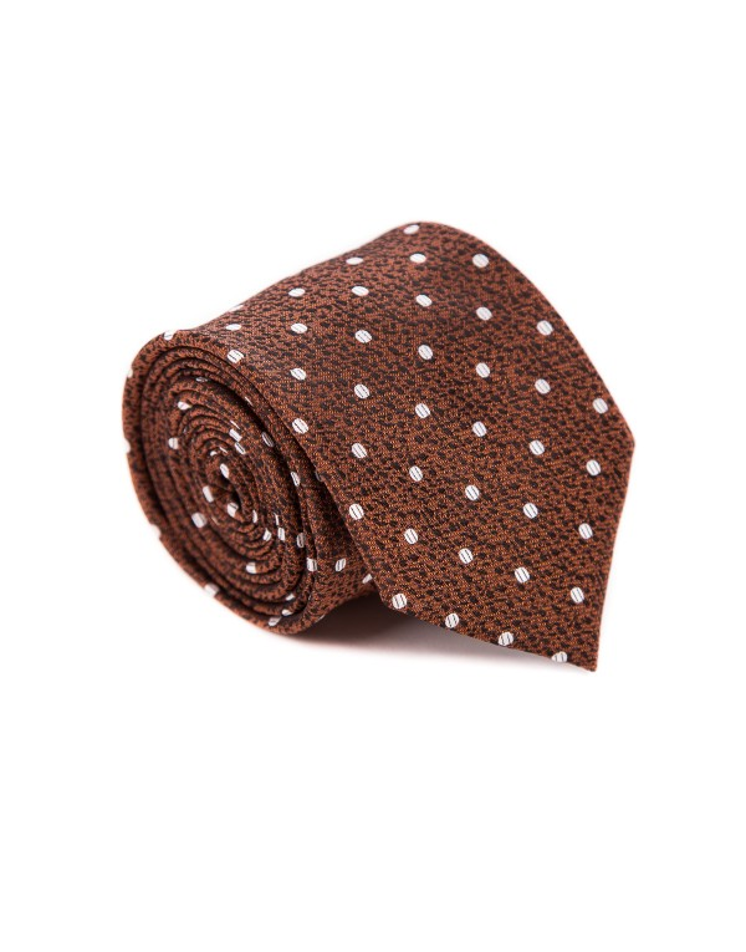 Krawat męski brązowy w białe kropki