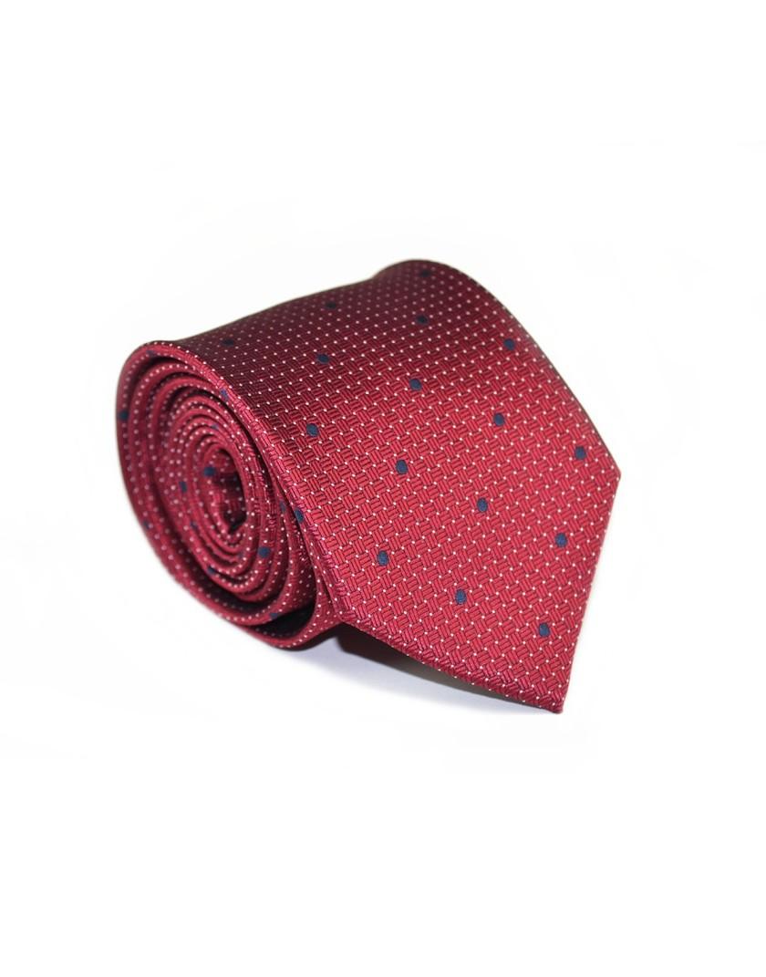 Bordowy krawat w granatowe kropki