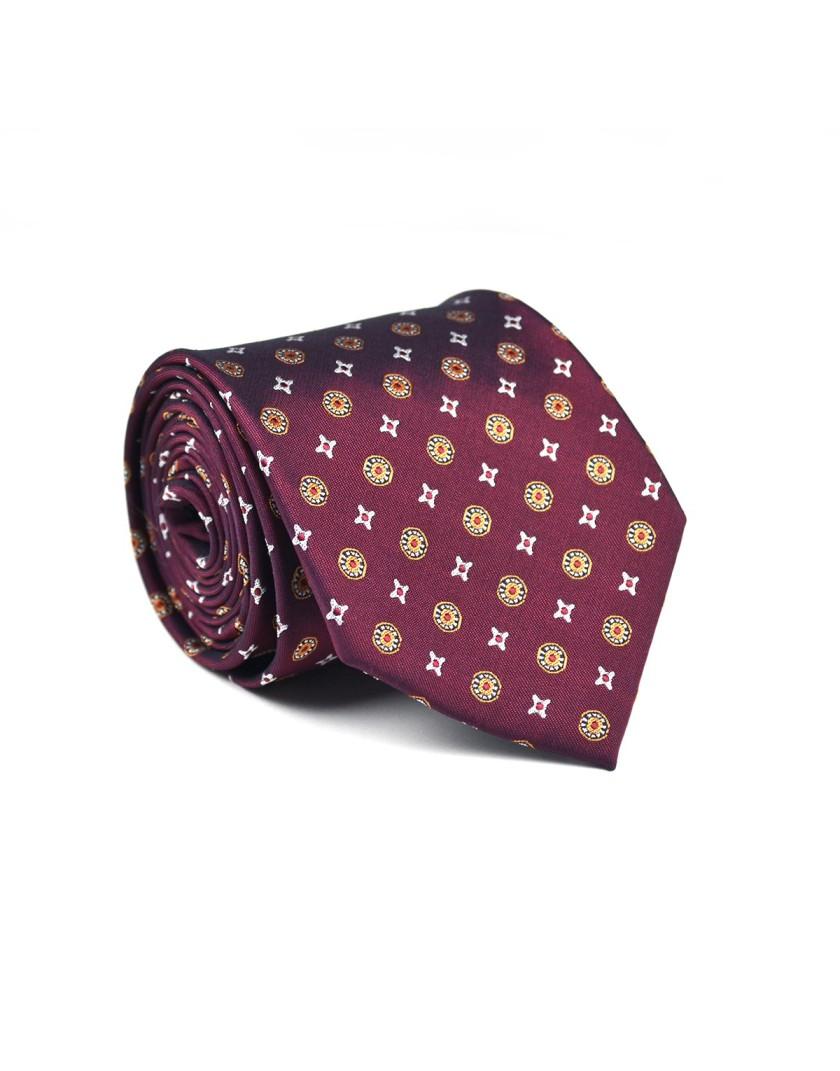 Krawat bordowy w geometryczny wzór