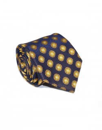 Granatowy krawat w geometryczny wzór