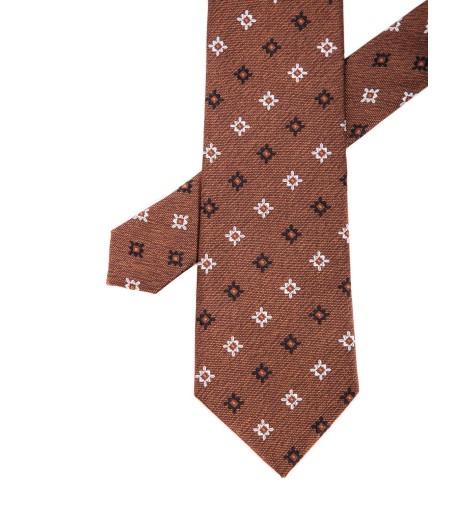 Krawat męski brązowy w kwiatowy print