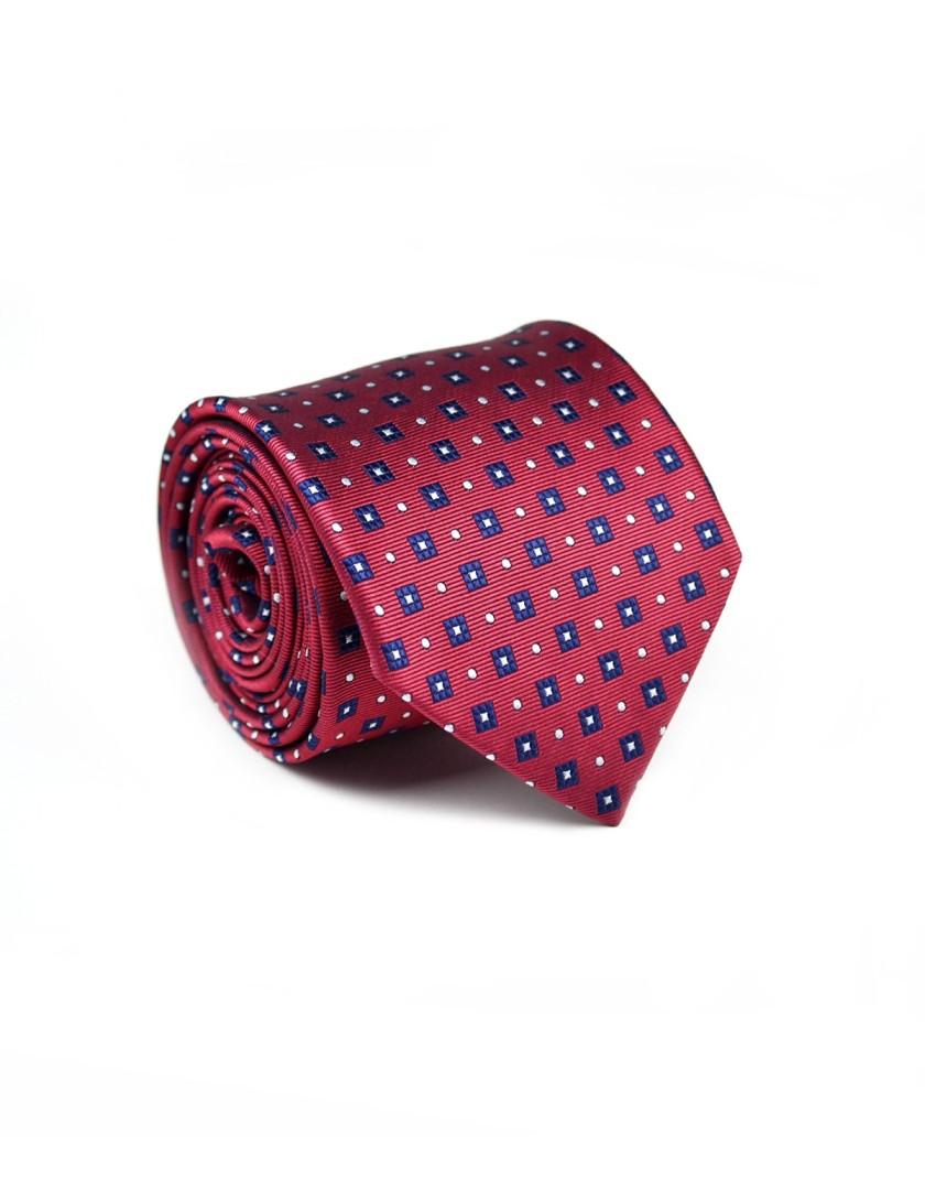 Krawat bordowy w granatowe kwadraty