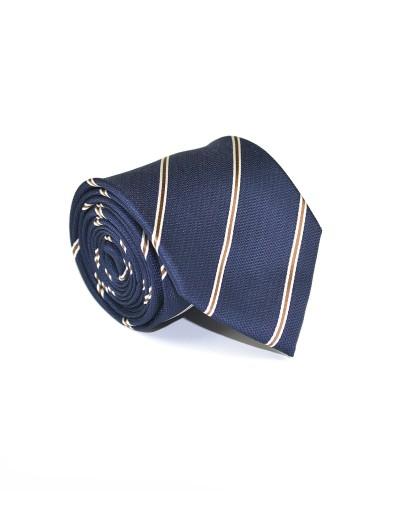 Granatowy krawat w pasy