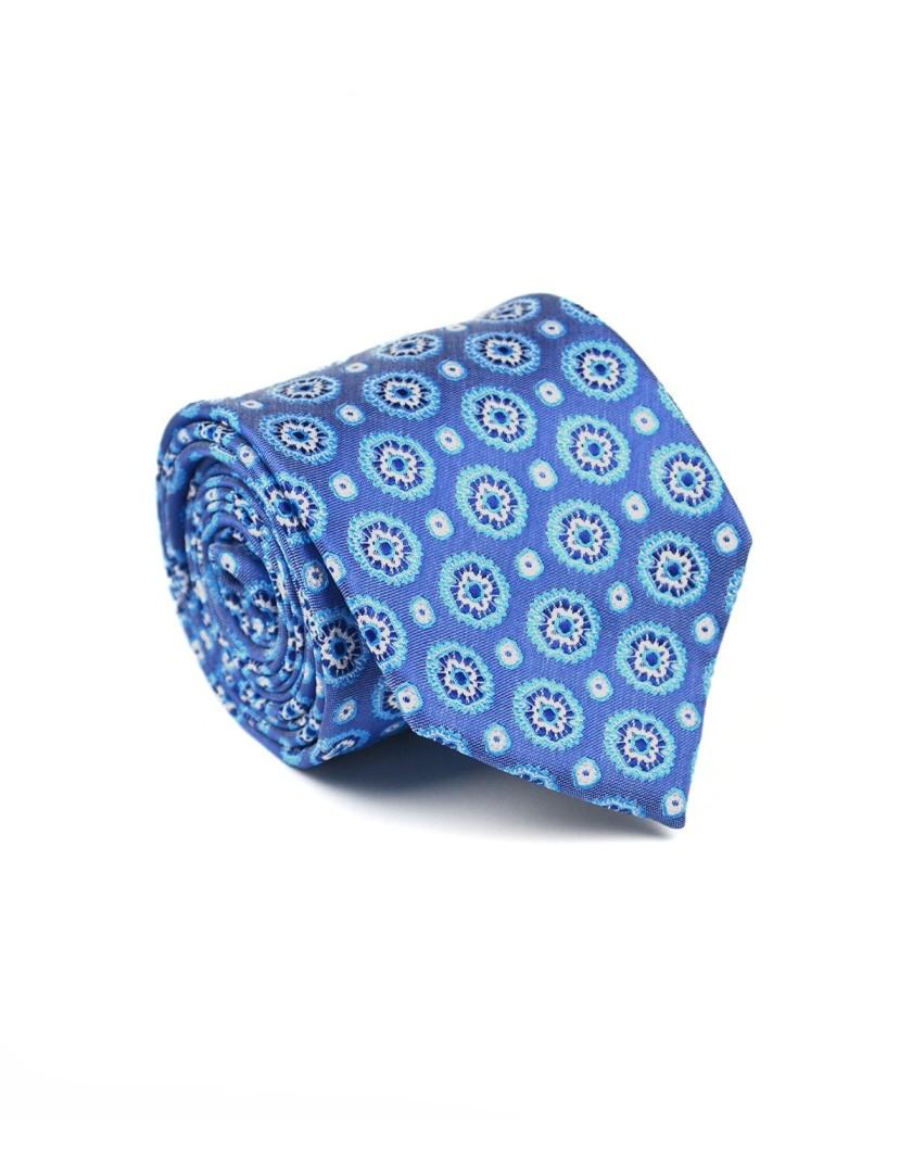 Krawat niebieski w geometryczny wzór