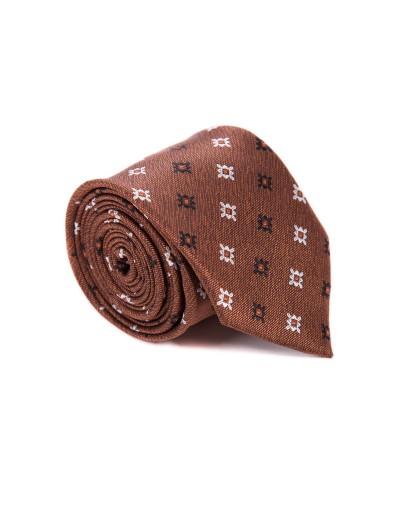 Krawat brązowy w kwiatowy print