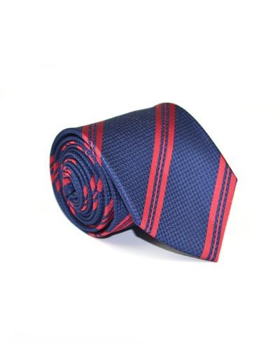 Granatowy krawat w czerwone pasy
