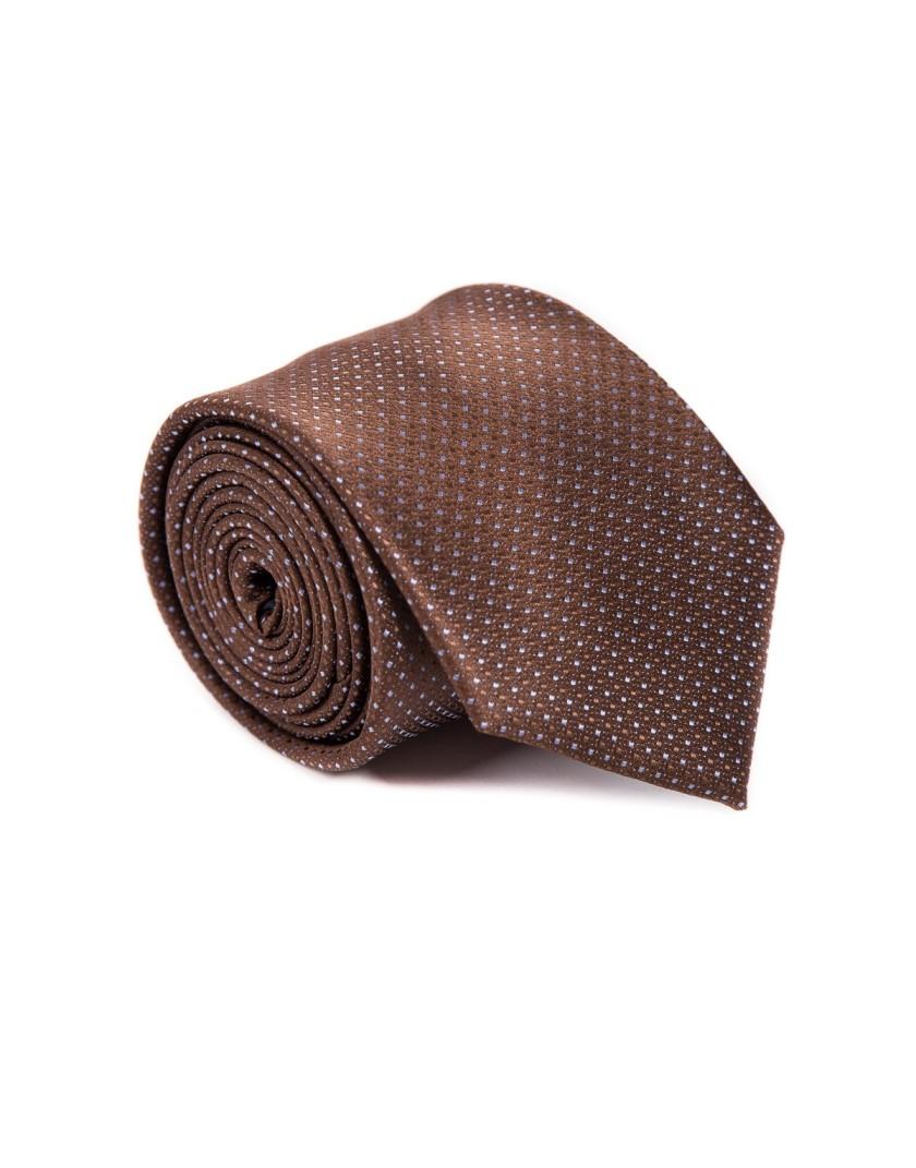 Brązowy krawat w drobne kropki