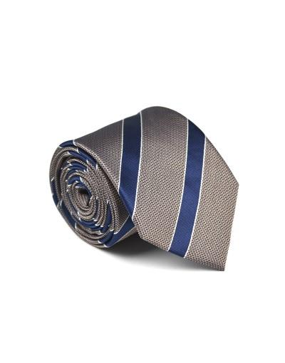 Szary krawat w granatowe pasy