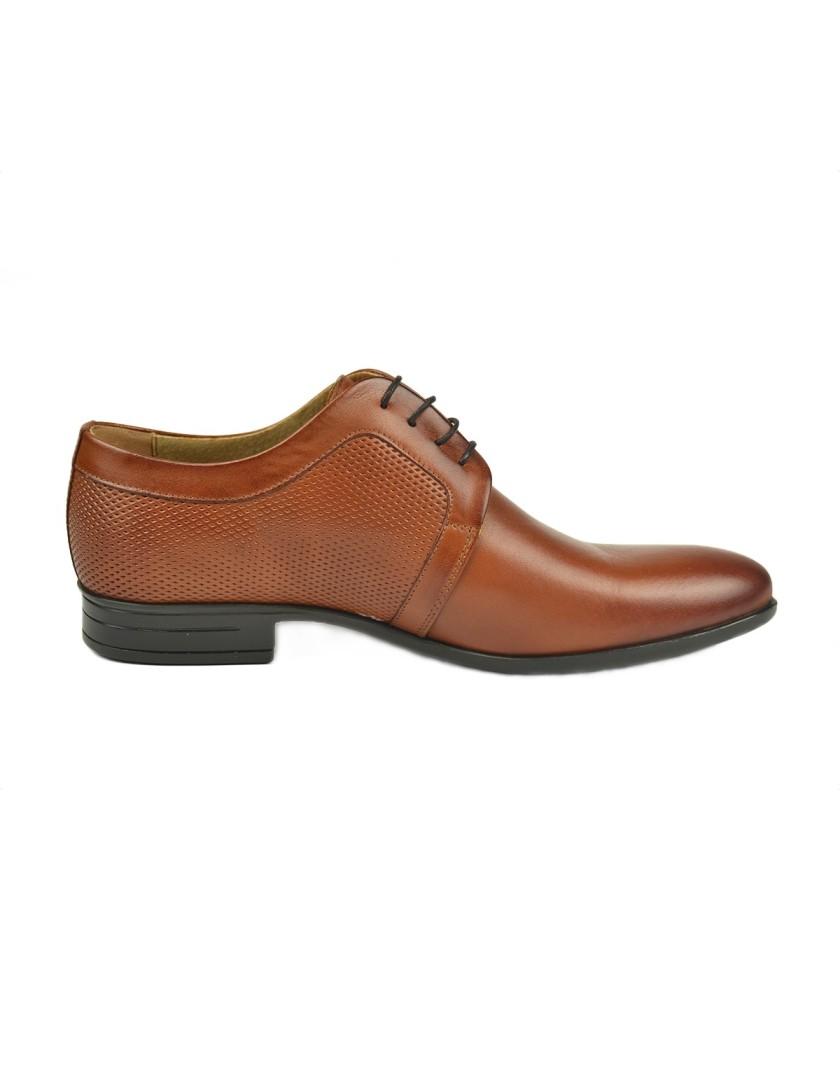 Brązowe buty skórzane z ozdobnym tłoczeniem OT3673