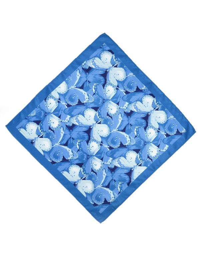 Niebieska poszetka wzór motyle