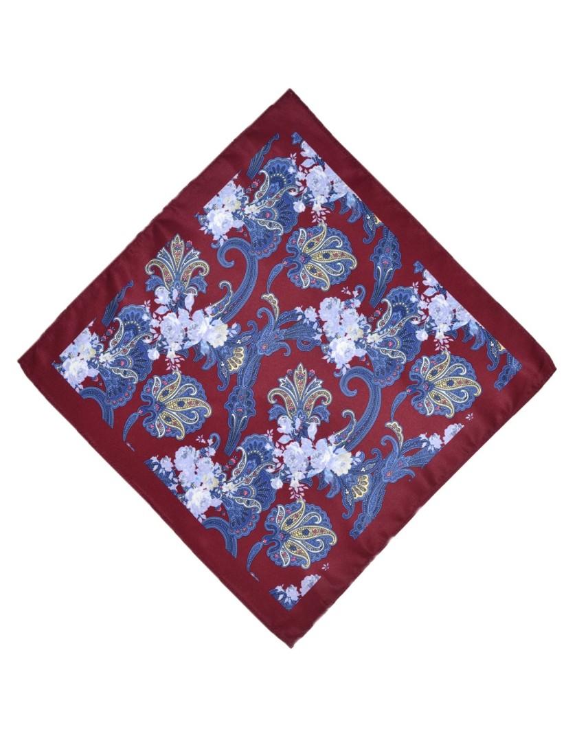 Poszetka bordowo niebieska wzór