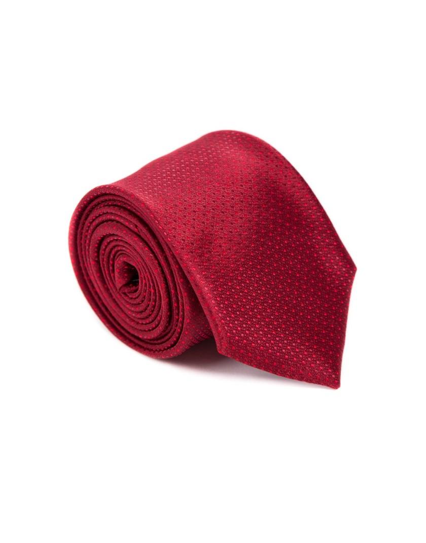 Bordowy krawat w mikrowzór
