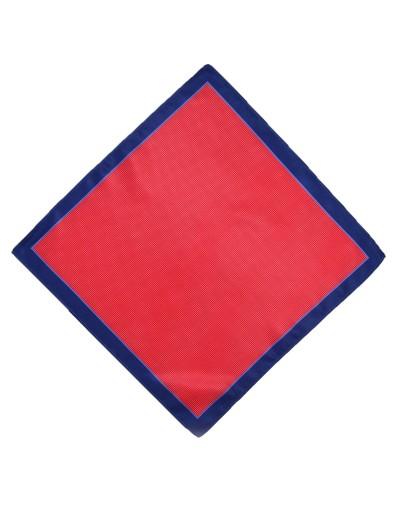 Czerwona poszetka z granatową obwódką