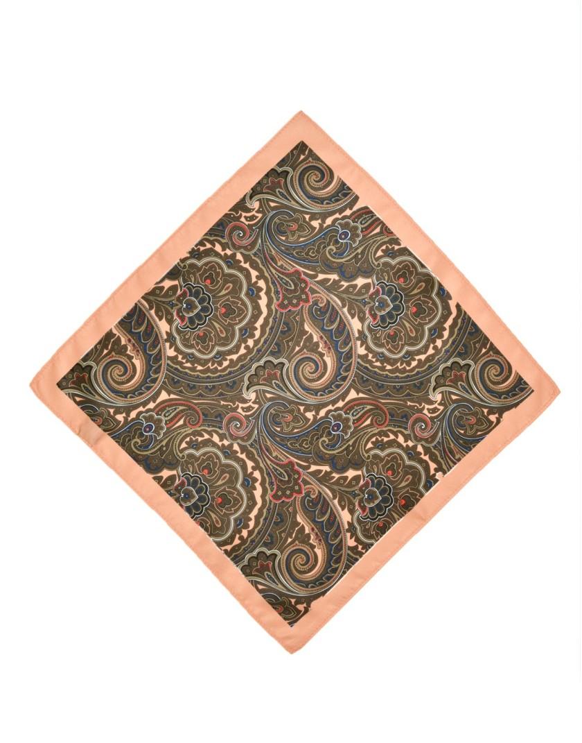 Brzoskwiniowa poszetka męska wzór paisley