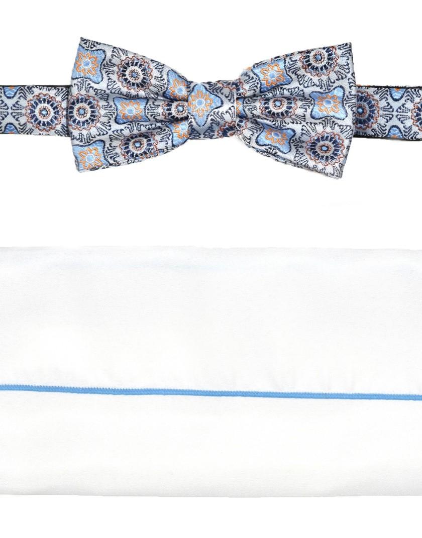 Elegancka mucha męska w niebieski wzór