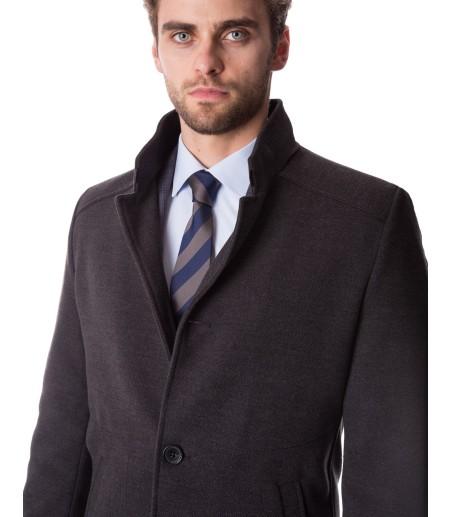 Czarny klasyczny płaszcz męski ZK0050