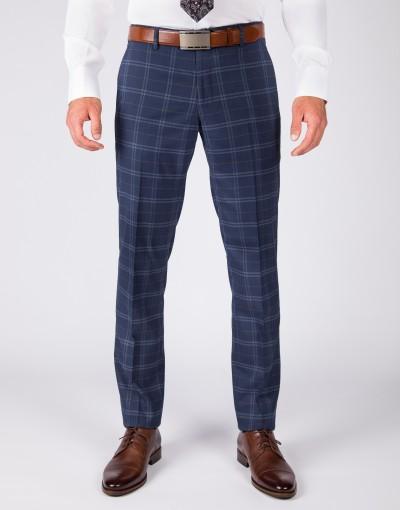 Granatowy garnitur w kratę SM8020 - spodnie