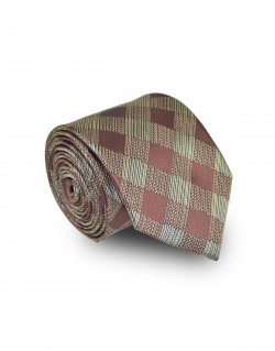 Krawat zielono brązowy w kratę