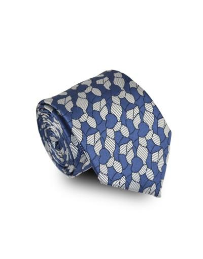 Krawat granatowo szary we wzór