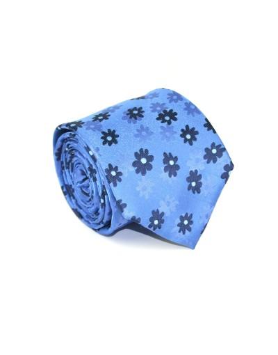 Krawat niebieski w granatowe kwiaty