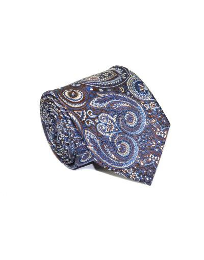 Krawat wzorzysty w odcieniach brązu i granatu